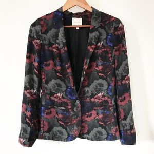 UO Silence + Noise Black Floral Classy Blazer